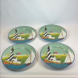 Gibson Warren Kimble Lighthouse Sailboat plates